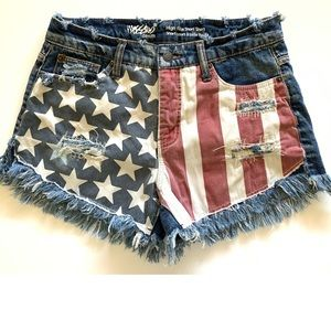 Mossimo Flag Distressed Jean Shorts